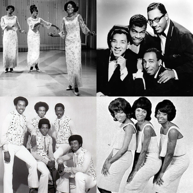 The 4 groups I'll be reviewing in this series. Clockwise from top left: The Supremes, The Miracles, Martha and the Vandellas, The Temptations.